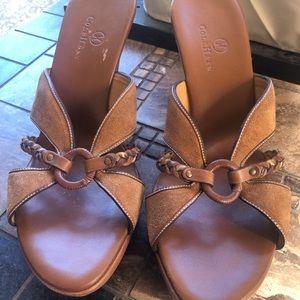 Cole Haan caramel brown heeled slip on sandals